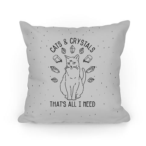 Cats and Crystals Black Lines Pillow