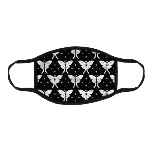 Luna Moth Black and White Boho Pattern Flat Face Mask
