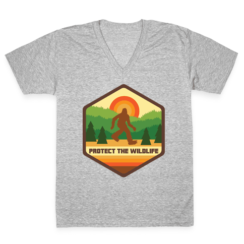 Protect The Wildlife (Bigfoot) V-Neck Tee Shirt