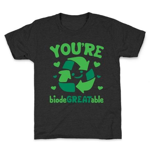 You're Biodegreatable White Print Kids T-Shirt