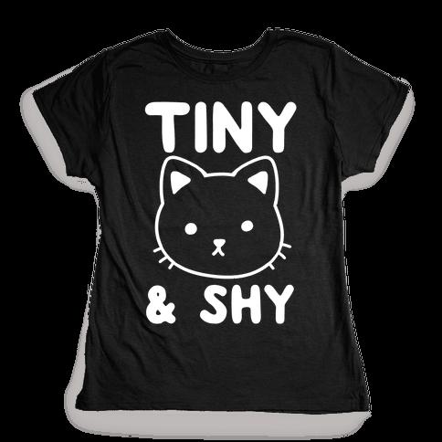 Tiny & Shy Cat Womens T-Shirt