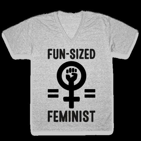 Fun-Sized Feminist V-Neck Tee Shirt
