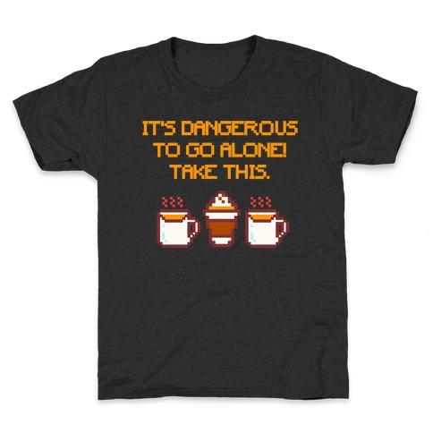 It's Dangerous To Go Alone Take This Pumpkin Parody White Print Kids T-Shirt