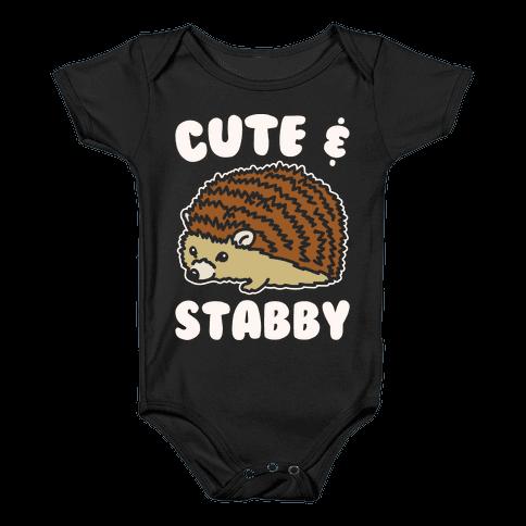 Cute & Stabby White Print Baby Onesy