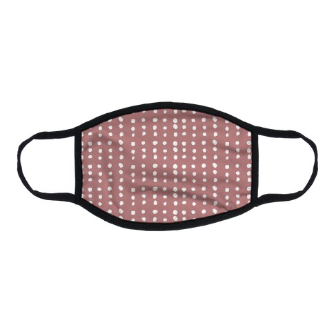 Polka Dot Dusty Rose Minimalist Boho Pattern Flat Face Mask