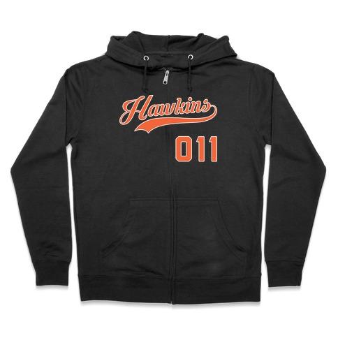 Hawkins Baseball (White) Zip Hoodie