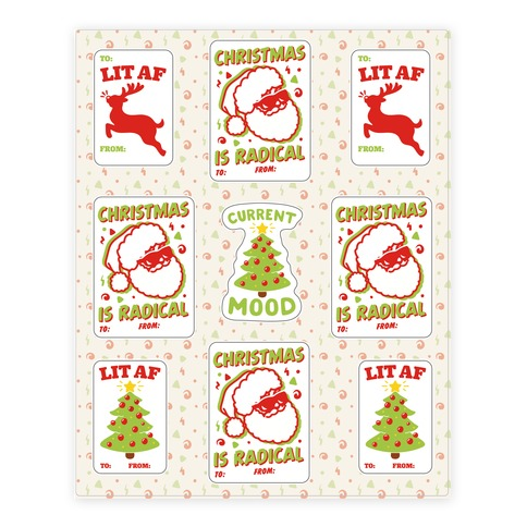 Christmas Is Lit and Radical Gift Tag Sticker Sheet Sticker and Decal Sheet
