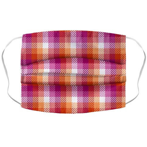 Lesbian Pride Flag Plaid Accordion Face Mask