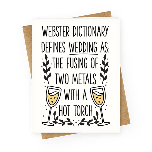 Webster Dictionary Defines Wedding Greeting Card