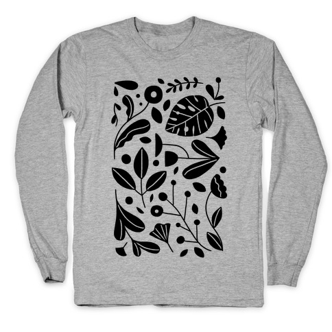 Black and White Plant Pattern Long Sleeve T-Shirt