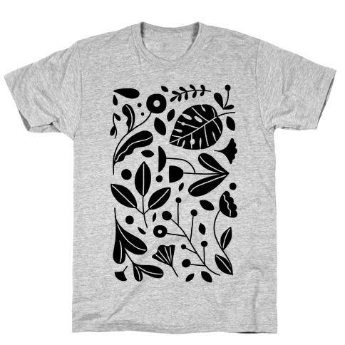 Black and White Plant Pattern Mens/Unisex T-Shirt