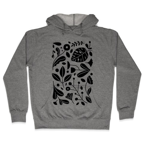 Black and White Plant Pattern Hooded Sweatshirt