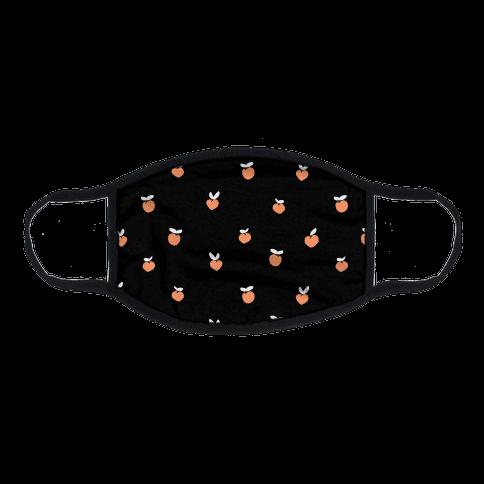 Dainty Peach Pattern Black Flat Face Mask