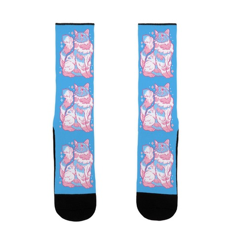Transgender Pride Cat Sock