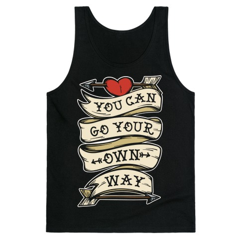 You Can Go Your Own Way Wanderlust White Print Tank Top