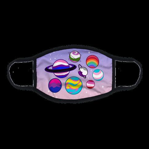 LGBTQ+ Planets Pastel Flat Face Mask
