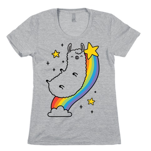 Llama On A Rainbow Womens T-Shirt