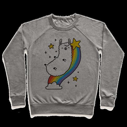 Llama On A Rainbow Pullover