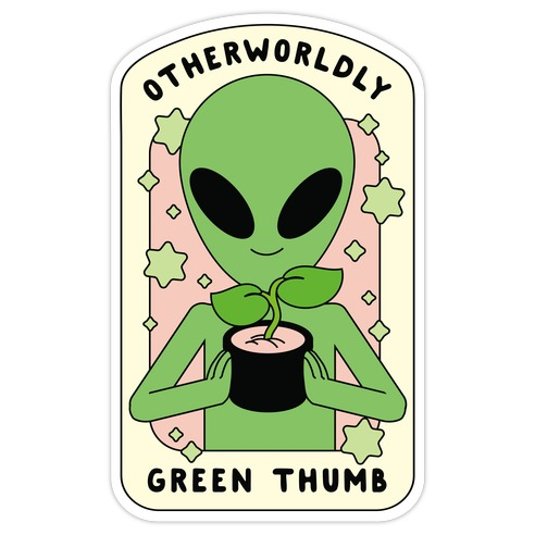 Otherworldly Green Thumb Die Cut Sticker