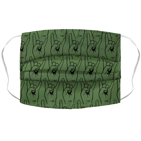 Sign of the Horns Green Pattern Accordion Face Mask