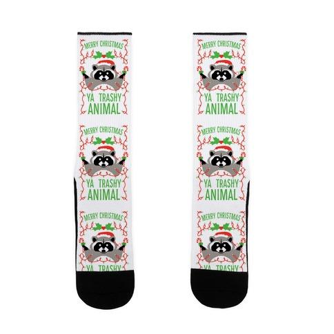 Merry Christmas Ya Trashy Animal Sock