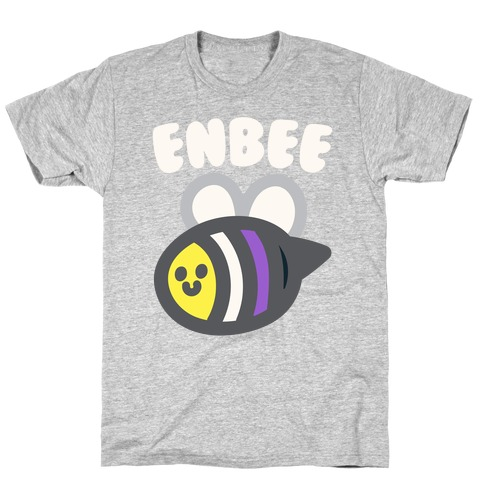 Enbee Enby Bee Non Binary Pride White Print T-Shirt