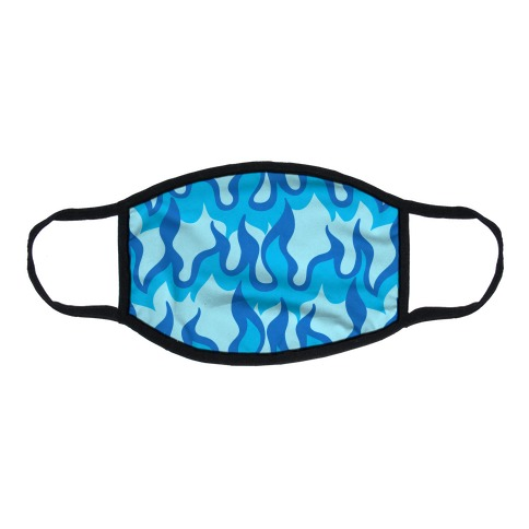 Blue Flames Flat Face Mask
