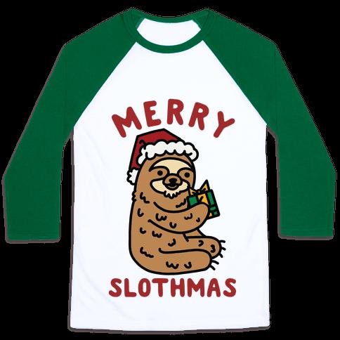 Merry Slothmas Baseball Tee