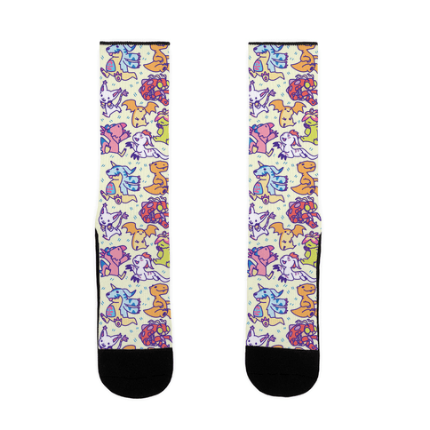 Digital Monsters Pattern Sock