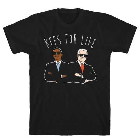 Obama and Biden Bffs For Life White Print Mens T-Shirt