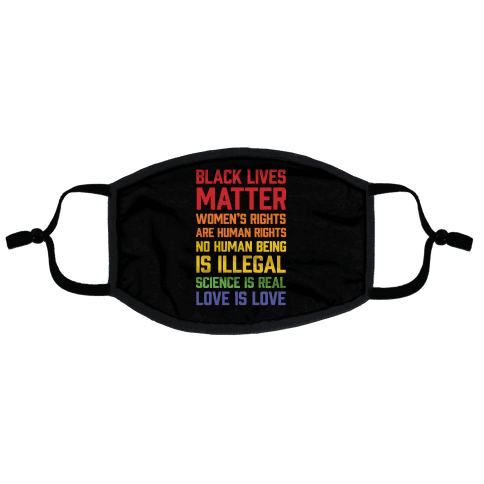 Black Lives Matter List Flat Face Mask