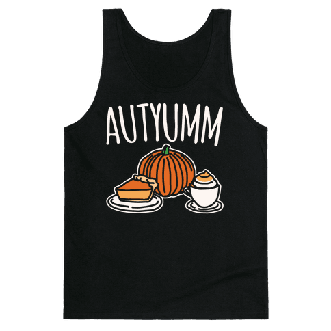 Autyumm Autumn Foods Parody White Print Tank Top