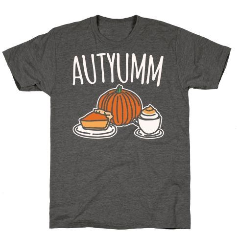 Autyumm Autumn Foods Parody White Print T-Shirt