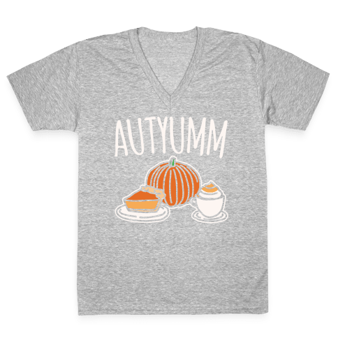 Autyumm Autumn Foods Parody White Print V-Neck Tee Shirt