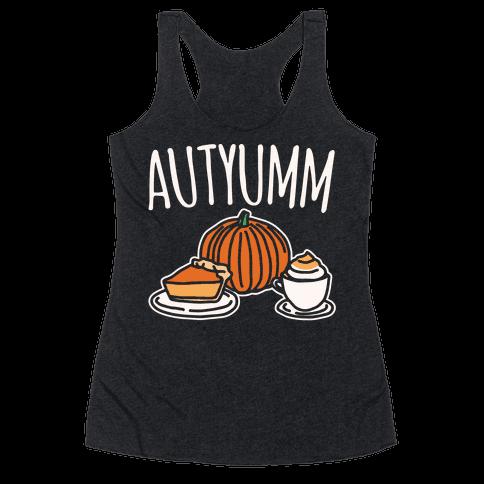 Autyumm Autumn Foods Parody White Print Racerback Tank Top