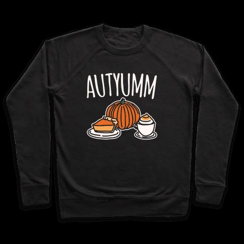 Autyumm Autumn Foods Parody White Print Pullover