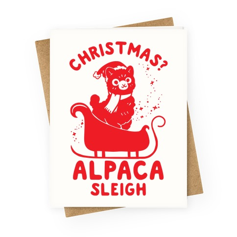 Christmas Alpaca Sleigh Greeting Card