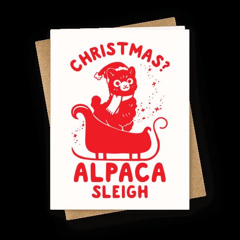 Christmas Alpaca Sleigh Greeting Card