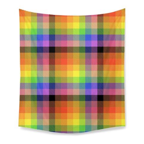 Pride Flag Plaid Tapestry