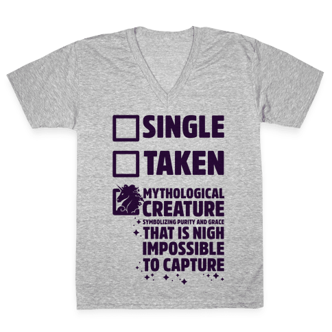 Single Taken Mythological Creature V-Neck Tee Shirt