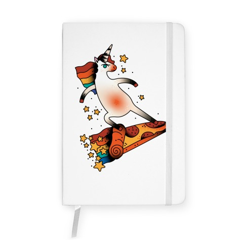 Rad Unicorn Skateboarding a Pizza Tattoo Notebook