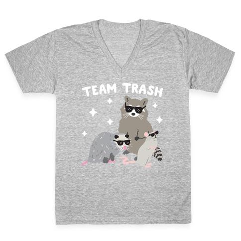Team Trash Opossum Raccoon Rat V-Neck Tee Shirt