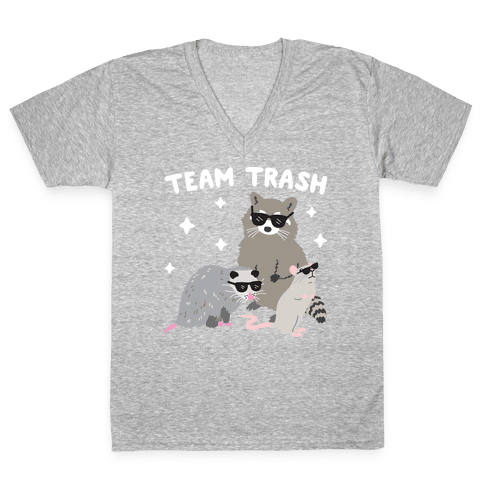 Team Trash Opossum Raccoon Rat V-Neck Tee Shirt