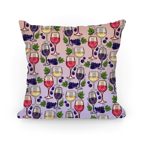 Wine and Grapes Pattern Pillow