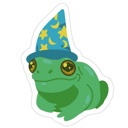Blue Hat Magical Mushroom Frog Die Cut Sticker