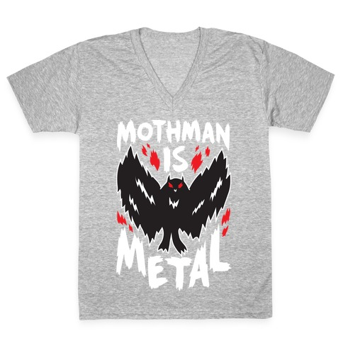 Mothman Is Metal V-Neck Tee Shirt