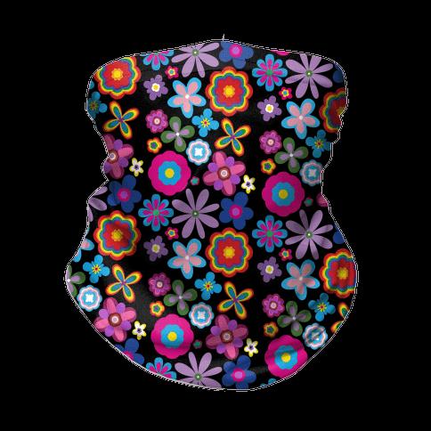 Hippie Pride Flower Pattern Neck Gaiter