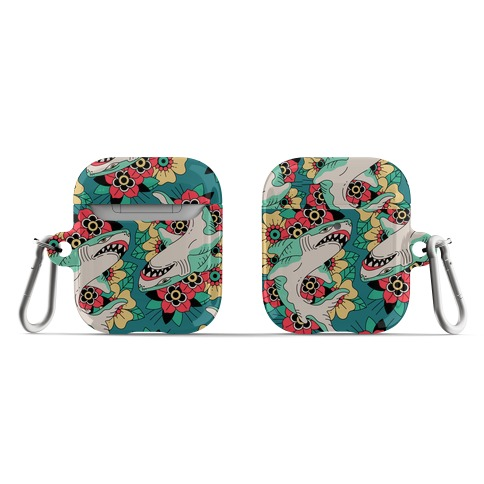 Floral Shark Traditional Tattoo AirPod Case