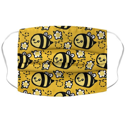Cute Bumble Bee and Flower Pattern Accordion Face Mask