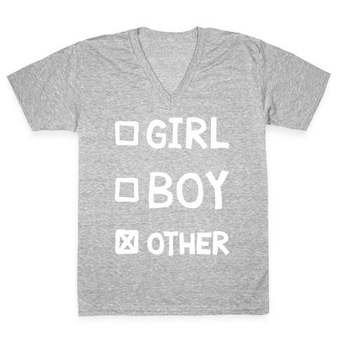 Non-Binary Gender Checklist V-Neck Tee Shirt